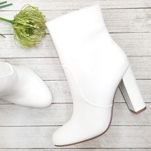 New White Chunky Heel Ankle Boots Booties